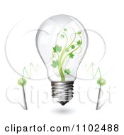Clipart Renewable Green Energy Light Bulb With Current And A Vine Royalty Free Vector Illustration by merlinul
