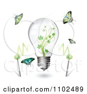 Clipart Renewable Green Energy Light Bulb With Butterflies Royalty Free Vector Illustration by merlinul