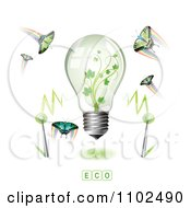 Clipart Renewable Green Energy Light Bulb With Butterflies And Rainbows 1 Royalty Free Vector Illustration by merlinul