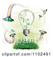 Clipart Renewable Green Energy Light Bulb With Butterflies And Rainbows 2 Royalty Free Vector Illustration by merlinul