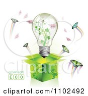Clipart Renewable Green Energy Light Bulb In A Box With Butterflies 1 Royalty Free Vector Illustration by merlinul