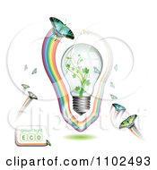 Clipart Renewable Green Energy Light Bulb With Butterflies And Rainbows 4 Royalty Free Vector Illustration by merlinul