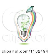 Clipart Renewable Green Energy Light Bulb With Butterflies And Rainbows 5 Royalty Free Vector Illustration by merlinul