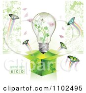 Clipart Renewable Green Energy Light Bulb In A Box With Butterflies 2 Royalty Free Vector Illustration by merlinul