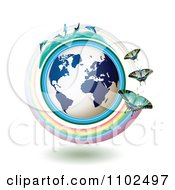 Clipart Butterflies With Rainbows Over A Blue Globe With Dolphins On Top 2 Royalty Free Vector Illustration by merlinul