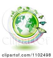 Clipart Butterflies With A Rainbow Around A Green Globe With Tress Horses And Homes On Top Royalty Free Vector Illustration by merlinul