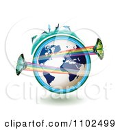 Clipart Butterflies With Rainbows Over A Blue Globe With Dolphins On Top 1 Royalty Free Vector Illustration by merlinul