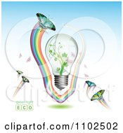 Clipart Renewable Green Energy Light Bulb With Butterflies And Rainbows 3 Royalty Free Vector Illustration by merlinul