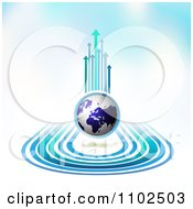 Clipart Arrow Trails And Globe Background 1 Royalty Free Vector Illustration