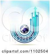 Clipart Arrow Trails And Globe Background 2 Royalty Free Vector Illustration