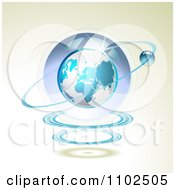 Clipart Shiny Blue Globe With A Ring On Beige Royalty Free Vector Illustration