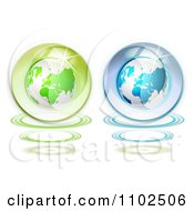 Clipart Green And Blue Shiny Globes On White Royalty Free Vector Illustration