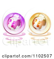 Clipart Pink And Orange Shiny Globes On White Royalty Free Vector Illustration