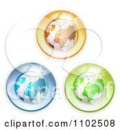 Clipart Three Shiny Globes On White Royalty Free Vector Illustration