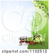 Clipart Locust Cricket Or Grasshopper With Grass And Clovers On Blue Royalty Free Vector Illustration