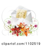 Clipart Photo Of Gold Wedding Bands In An Envelope With Butterflies Blossoms And Lilies Royalty Free Vector Illustration
