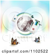 Clipart Butterfly Globe And Mail Background 2 Royalty Free Vector Illustration by merlinul