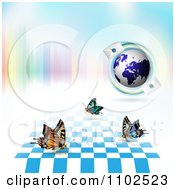 Clipart Butterfly Checker And Letter Globe Background Royalty Free Vector Illustration by merlinul