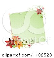 Clipart Blank Green Note With Lilies And Vines Royalty Free Vector Illustration