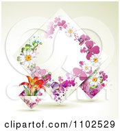 Clipart Diamond Frame With Lilies Daisies And Purple Shamrocks Royalty Free Vector Illustration
