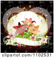 Clipart Lily And Blank Banner Background Royalty Free Vector Illustration