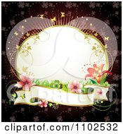 Clipart Lily Frame And Blank Banner Background Royalty Free Vector Illustration