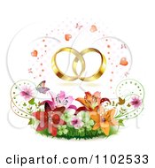 Clipart Wedding Bands Over Butterflies Hearts Lilies Blossoms And Shamrocks Royalty Free Vector Illustration