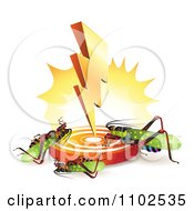 Clipart Bolt Striking Down And Killing Locusts Crickets Or Grasshoppers Royalty Free Vector Illustration by merlinul