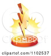 Clipart 3d Bolt Of Lightning Striking Down On A Circle Royalty Free Vector Illustration