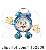 Clipart Happy Blue Alarm Clock Character Royalty Free Vector Illustration