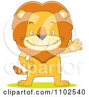 Clipart Happy Lion Waving And Standing Upright Royalty Free Vector Illustration by Qiun