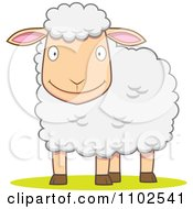 Clipart Happy White Sheep Smiling Royalty Free Vector Illustration