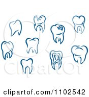 Clipart Blue Human Teeth Royalty Free Vector Illustration