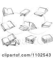 Clipart Black And White Text Books Royalty Free Vector Illustration