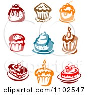 Clipart Colorful Muffins Cakes And Desserts Royalty Free Vector Illustration