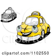Clipart Happy Taxi Cabs Royalty Free Vector Illustration