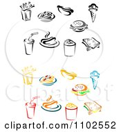 Clipart Colored And Black And White Fries Pizza Hot Dog Ice Cream Burger Soda Popcorn And Sandwich Royalty Free Vector Illustration