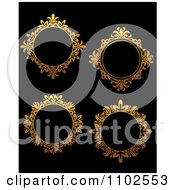 Clipart Ornate Golden Round Frames On Black Royalty Free Vector Illustration