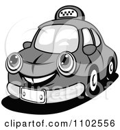 Clipart Happy Grayscale Taxi Cab Royalty Free Vector Illustration