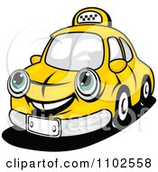 Clipart Happy Yellow Taxi Cab Royalty Free Vector Illustration