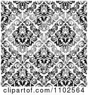 Clipart Black And White Triangular Damask Pattern Seamless Background 24 Royalty Free Vector Illustration