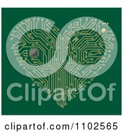 Clipart Circuit Heart Motherboard On Green Royalty Free Vector Illustration
