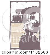 Clipart Blind Man Tilting His Head Back And Unaware Of Factory Pollution In The Background Royalty Free Vector Illustration