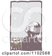 Clipart Blind Man Tilting His Head Back And Unaware Of The Starry Sky Above And The Sunflower Fields Behind Him Royalty Free Vector Illustration
