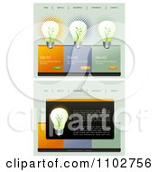 Clipart Website Home Page Interface Templates With Green Energy Light Bulbs And Navigation Bars Royalty Free Vector Illustration by creativeapril