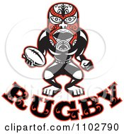 Clipart Red Black And White Maori Warrior Rugby Player Over Text Royalty Free Vector Illustration