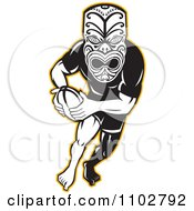 Clipart Yellow Black And White Maori Warrior Rugby Player Royalty Free Vector Illustration