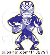 Clipart Maori Warrior Rugby Player Royalty Free Vector Illustration