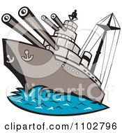 Clipart Battleship With Cannons At Sea Royalty Free Vector Illustration by patrimonio