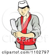 Clipart Japanese Butcher Standing With A Cleaver Knife Royalty Free Vector Illustration